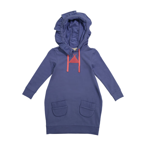 JILL Solid Ruffle Hooded Bubble Dress - Faded Blue - FINAL SALE