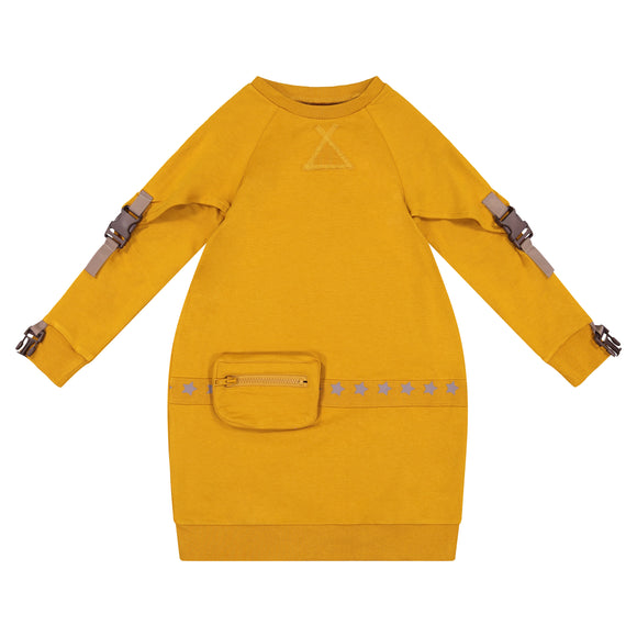 SOLID Buckle Sleeve Bubble Pouch Dress - Mustard - FINAL SALE