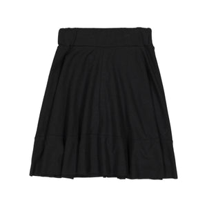 BASIC KNIT Circle Cut Solid Skirt - Black