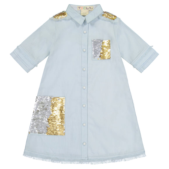 DENIM SHIRT Dress - Gold/Silver