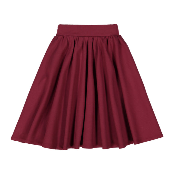 Burgundy - Ponte Circle Skirt - FINAL SALE