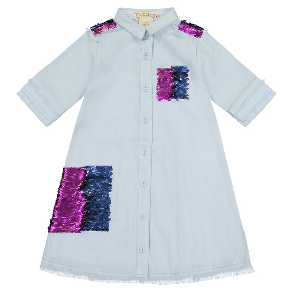 DENIM SHIRT Dress - Magenta/Blue