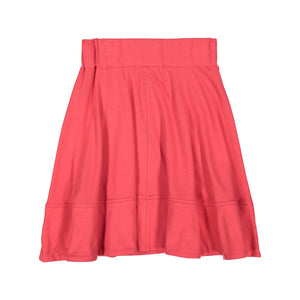 BASIC KNIT Circle Cut Solid Skirt - Cherry