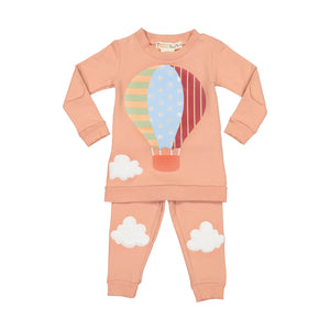 Hot Air Balloon Pajamas - 2 piece set - CLAY - FINAL SALE
