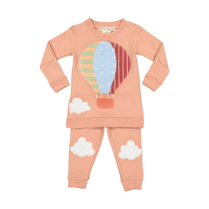 Girls' Hot Air Balloon Pajamas - 2 piece set - BLUSH PINK - FINAL SALE