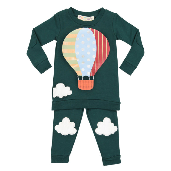 Hot Air Balloon Pajamas - 2 piece set - HUNTER GREEN - FINAL SALE