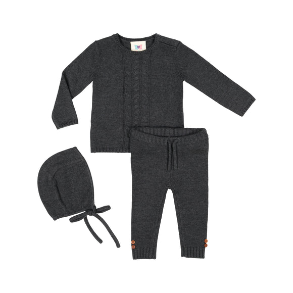 Cable Knit Set - Charcoal Grey - FINAL SALE