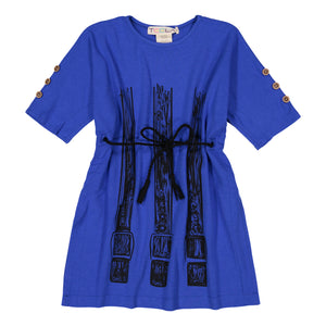 SQUARE Belt Print Dress - Dazzling Blue