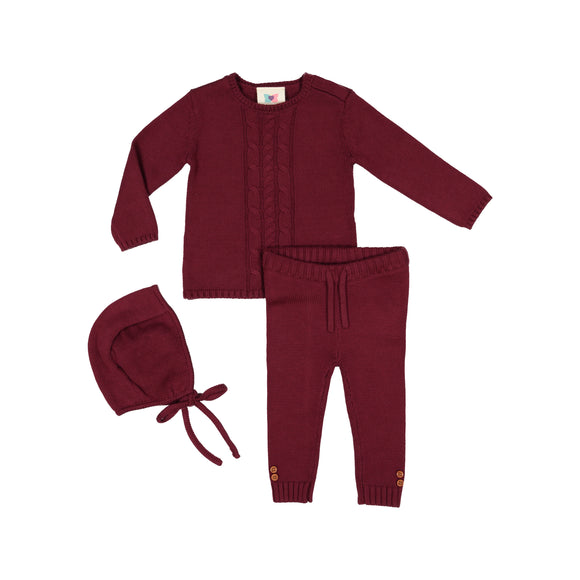 Cable Knit Set - Burgundy - FINAL SALE