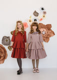 Circle Dress with Double Peplum - clay