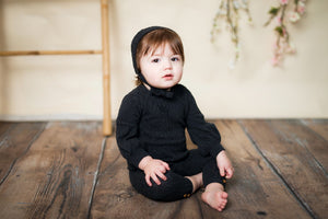 BABY Cable Knit Set - CHARCOAL