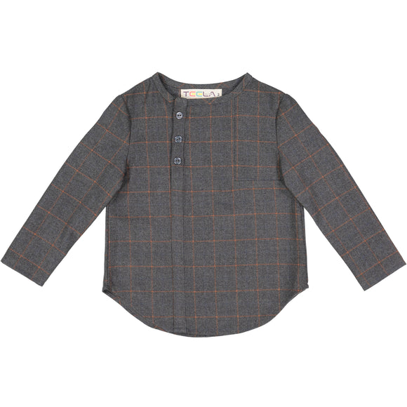 DON Windowpane Shirt - charcoal - runs small size up - FINAL SALE