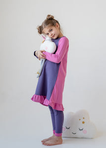 Nightgown - COLOR BLOCK - lilac/pink