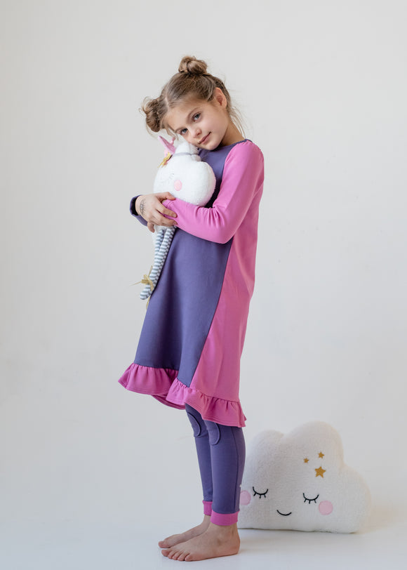 Nightgown - COLOR BLOCK - lilac/pink - FINAL SALE