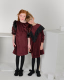 TARA Ruffle Shawl Dress Merlot - FINAL SALE