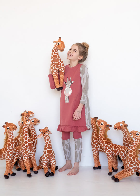 Nightgown - Giraffe - Salmon - FINAL SALE