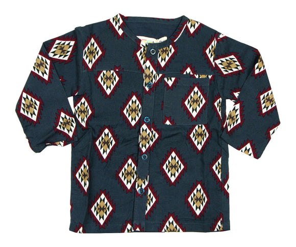 Teela Boys Navy Aztec Top - Young Timers Boutique  - 1
