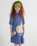 BOTTOM RUFFLE A-LINE Circle Patch Dress - Bleached Denim - FINAL SALE
