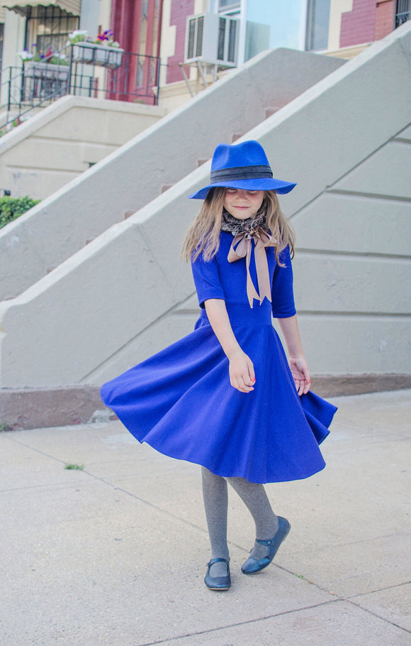 Royal Blue Circle Dress with Fur Collar