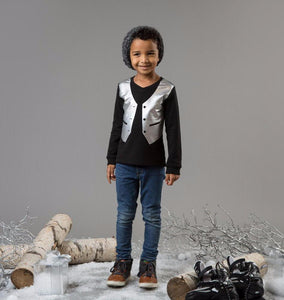 Teela Boys' Black Vest T-Shirt