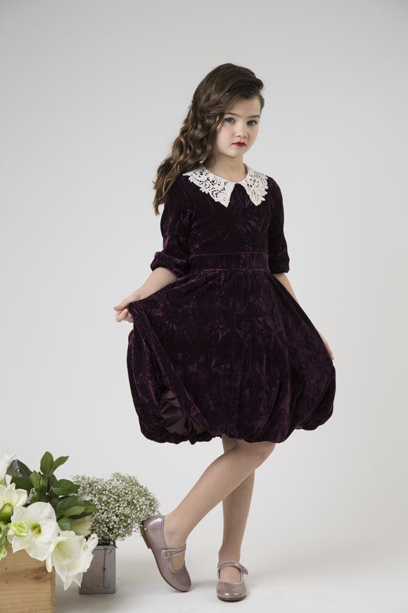 Plum Crushed Velvet Dress with Lace Collar