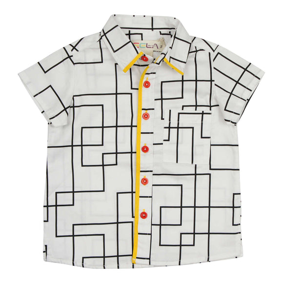 Teela Boys' Geometric Piping Top
