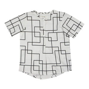 Teela Boys' Geometric White Pleat Top