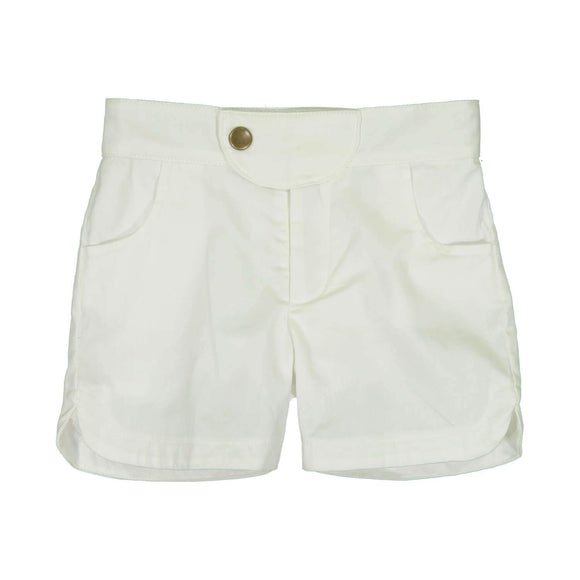 Teela Boys' White Solid Shorts