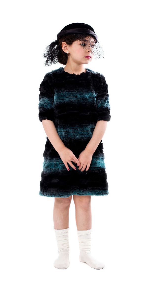 Teela Deep Ocean Fur Dress - Young Timers Boutique