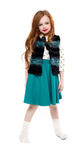 Teela Deep Ocean Fur Vest - Young Timers Boutique