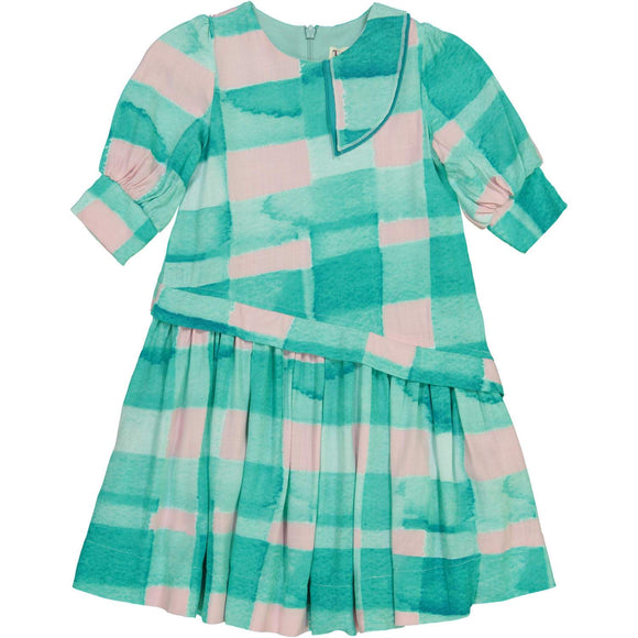 Teela Girls' CLOE Asymmetrical Robin Blue Gingham Waist Dress