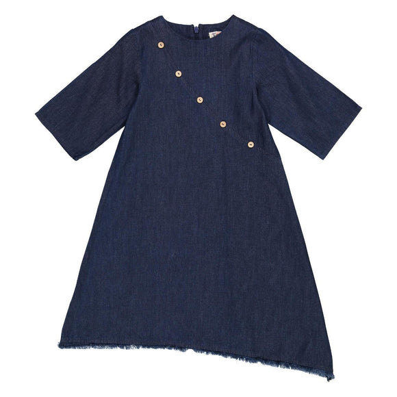 Teela Girls' Dark Denim Angled Fringe Dress