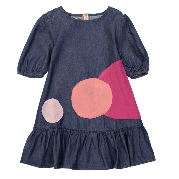 DENIM BOTTOM RUFFLE A-LINE Circle Patch Dress - Dark Denim - FINAL SALE