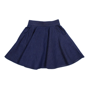 Teela Girls' Dark Denim Pocket Skirt