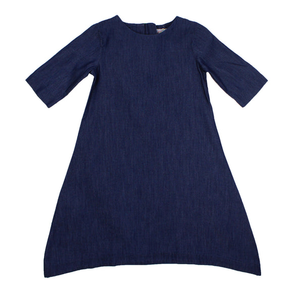 Teela Girls' Dark Denim Tail Dress