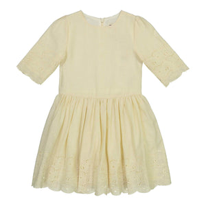 Teela Girls' EMA Eyelet Stitch Ivory Dress