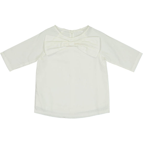 Teela Girls' FAY Bow White Solid Shirt