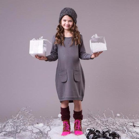 Teela Girls' Grey Balloon Solid Dress