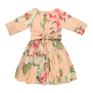 Teela Girls' LEAH Fit and Flare Peach Floral Dress