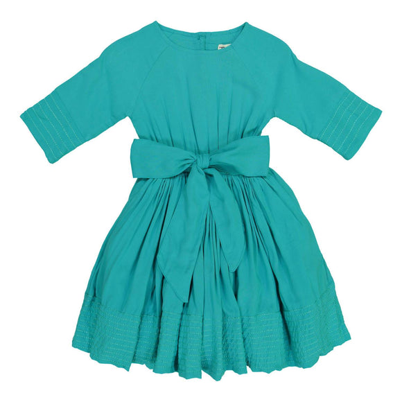 Teela Girls' LEAH Fit and Flare Robin Blue Solid Dress