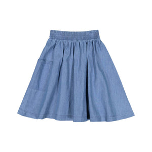 Teela Girls' Light Denim 1-Pocket Skirt