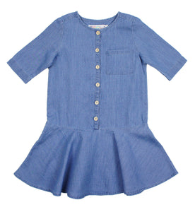 Teela Girls' Light Denim Low Waist Dress