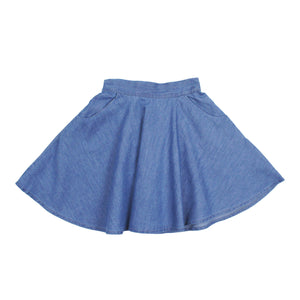 Teela Girls' Light Denim Pocket Skirt