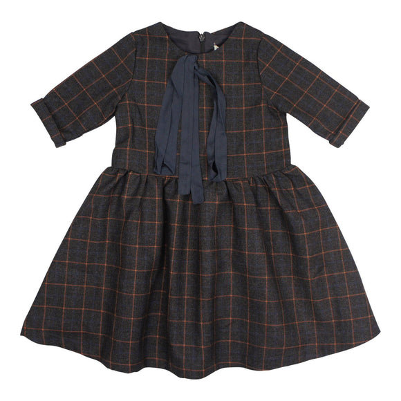 Teela Girls' MIA Waisted Window Pane Dress