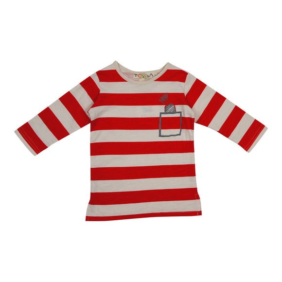 Teela Girls' Red Stripe T-Shirt - FINAL SALE