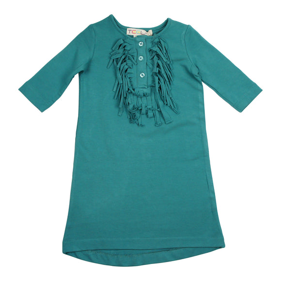 Teela Girls' Teal Fringe Dress