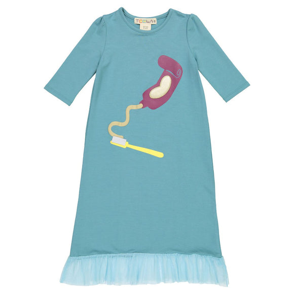 Teela Girls' Toothpaste Blue Nightgown