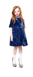 Teela Navy Crushed Velvet Dress - Young Timers Boutique