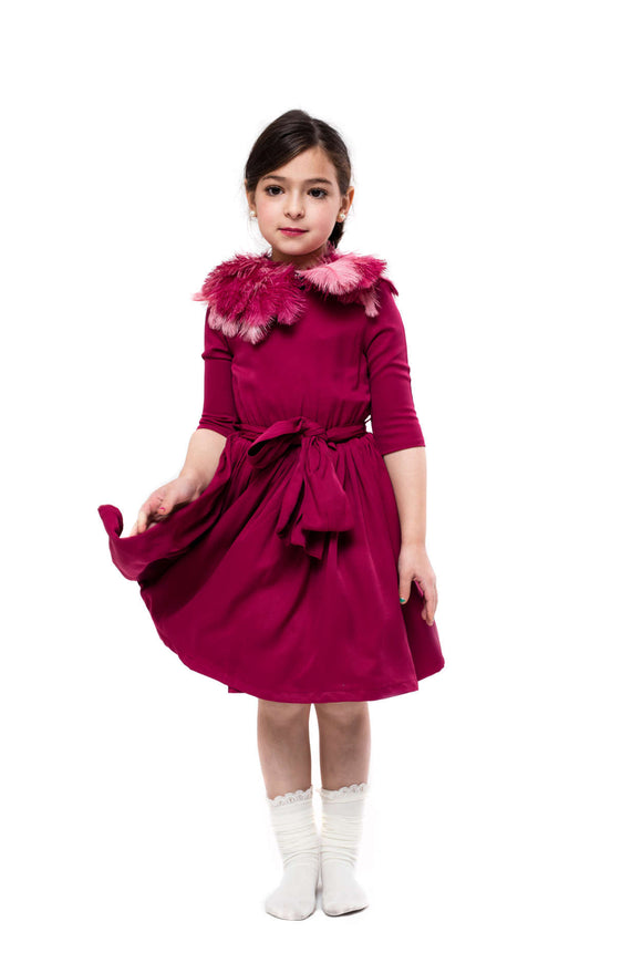 Teela Raspberry Fit and Flare Dress - Young Timers Boutique  - 1