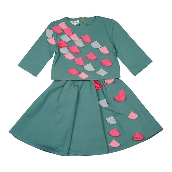 Teela Sea Green Flower Applique Two Piece set - Young Timers Boutique